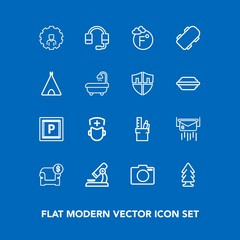Modern, simple vector icon set on blue background with technology, work, sofa, forest, web, mobile, science, temperature, call, headset, microphone, research, transport, letter, furniture, lens icons