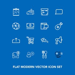 Modern, simple vector icon set on blue background with white, announcement, kitchen, modern, trolley, sofa, phone, download, picture, loudspeaker, web, star, transport, restaurant, shipping, fan icons