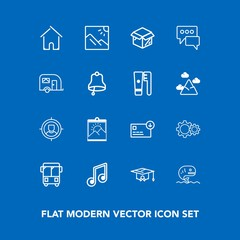 Modern, simple vector icon set on blue background with building, action, target, finance, house, note, sack, graduation, business, bag, landscape, fish, education, architecture, university, sea icons