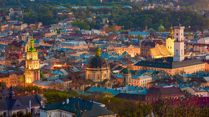 Aerial view of historical old city district of Lviv, Ukraine