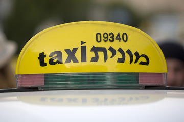 Taxi in the streets of Jerusalem in Israel