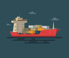 Vector illustration of flat ship container in the ocean transportation.