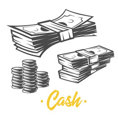 Cash illustration. Black and white objects.