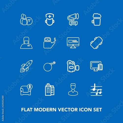 Modern, simple vector icon set on blue background with weapon