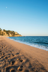 Fotomurales - Landscape of Lloret de Mar Castle and its beach in a sunny afternoon, Spain.