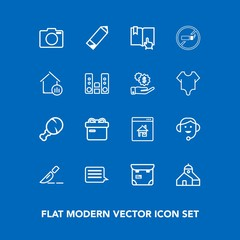 Modern, simple vector icon set on blue background with operation, call, estate, business, food, open, meal, pretty, box, medical, phone, lens, clinic, chicken, snack, sign, real, surgery, people icons
