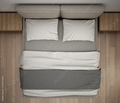 double bed top view. Perfect Double Modern Bedroom Top View Closeup On Double Gray And Cream Bed Parquet  Floor For Double Bed Top View O