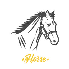 Horse. Black and white vector objects.