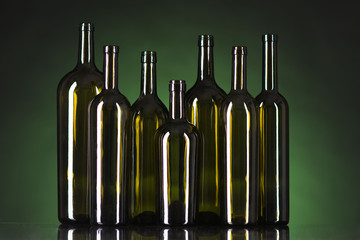 bottles on a green background
