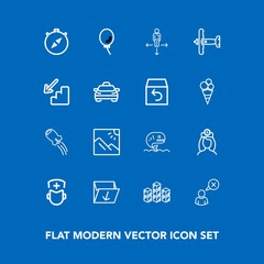 Modern, simple vector icon set on blue background with direction, place, care, nurse, south, white, waste, surgeon, rocket, trash, profile, medical, warehouse, hospital, holiday, garbage, north icons