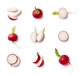 Set of fresh whole and sliced radishes