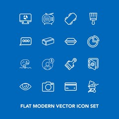 Modern, simple vector icon set on blue background with skater, banking, camera, television, photo, money, meat, fish, skateboard, finance, safety, chart, bank, card, board, accounting, extreme icons