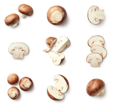Set of fresh whole and sliced champignons