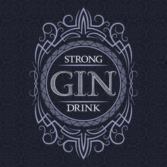 Gin strong drink label design template. Patterned vintage frame with text on pattern background.