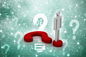3d illustration Question Mark. 3D. 3d small people - complicated question mark