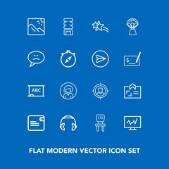 Modern, simple vector icon set on blue background with target, lady, sound, board, marketing, personal, diagnostic, black, photography, blackboard, drink, equipment, concept, face, cooler, music icons