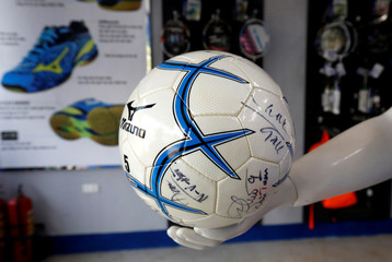 A soccer ball is displayed at a Mizuno sport shop in Hanoi