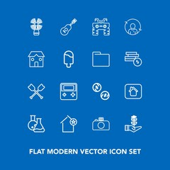 Modern, simple vector icon set on blue background with music, travel, paddle, medicine, wheel, laboratory, favorite, arrow, building, house, camera, extreme, dirt, sound, lighthouse, home, cash icons