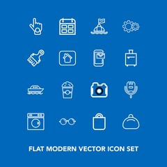 Modern, simple vector icon set on blue background with index, photographer, celebration, karaoke, voice, laundry, sign, machine, microphone, buoy, song, camera, cup, present, yacht, time, drink icons