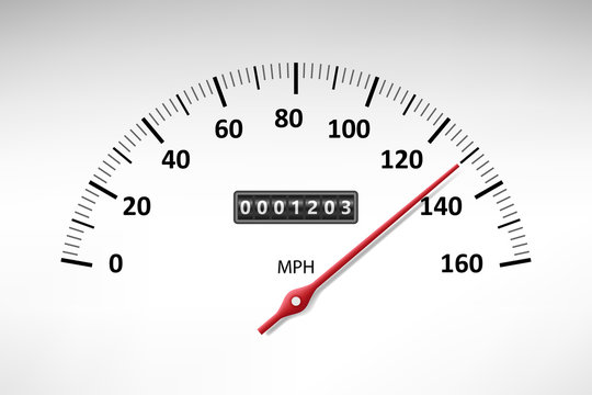 Car speedometer with speed level scale isolated on white. Car tachometer or odometer with speed panel. vector illustration