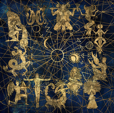 Chart with characters of zodiac symbols and solar signs on abstract background. Hand drawn illustration. Occult mystic drawing with horoscope astrology concept