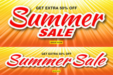 Summer sale template banners with sun rays. Set of glow horizontal sunlight orange background. Sunshine glare heat with flash rays and bubbles backdrop. Campaign sale 50% off. Vector illustration.