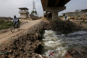 Untreated waste water from leather tanneries flow into the river Ganges in Kanpur