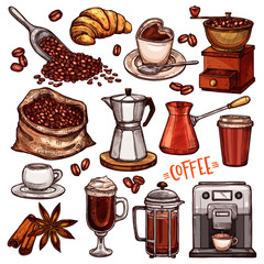 Coffee Color Hand Drawn Collection. Vector Sketch Illustration Set With Turk, Cups, Coffee Bag With Beans, Croissant, Coffee Mill,Coffee Maker, Kettle, Cups, Latte, Cinnamon, Star Anise