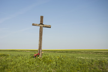 Old wooden cross on the field