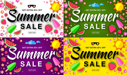 Summer sale template horizontal flat banners. Hand drawn typographic lettering on bright backgrounds. Flat paper sun, watermelon, ice cream, strawberry, flower. Vector summer design elements.
