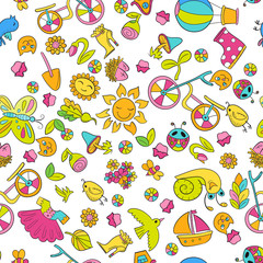 Cartoon hand-drawn doodles on the subject of spring and summer holidays theme seamless pattern. Vector colorful background for web, mobile and print.