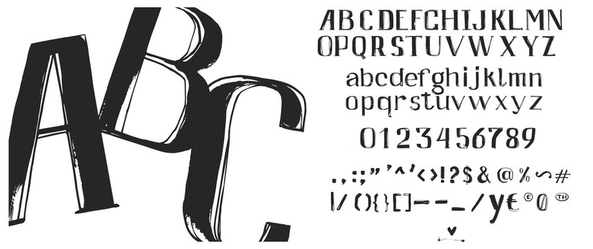 Hand drawn brush ink vector ABC letters set. Textured artistic typeset for your design. Font illustration.
