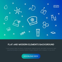 health, science, beauty and cosmetics outline vector icons and elements background concept on gradient background.Multipurpose use on websites, presentations, brochures and more