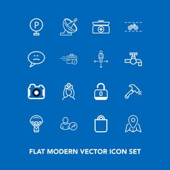 Modern, simple vector icon set on blue background with antenna, doctor, travel, shovel, care, car, box, photo, photographer, gift, technology, urban, web, business, nurse, satellite, parachuting icons