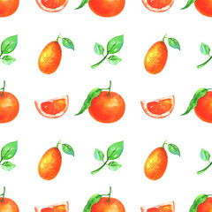 Hand painted minimalist seamless fruit pattern. Watercolor slices and whole mandarin, kumquat and green leaf isolated on white background