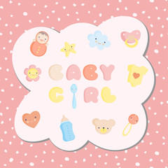 Set of colorful baby girl toys with seamless background. Vector illustration