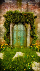 arch door style with old brick wall and vine around on grass floor yellow plant / stroke painting
