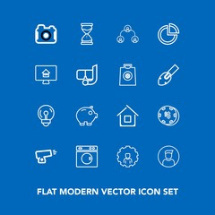 Modern, simple vector icon set on blue background with profile, war, technology, photo, equipment, estate, house, washer, money, camera, clean, mobile, clock, cash, web, hourglass, hierarchy icons