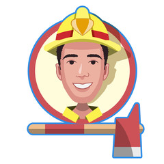 firefighter icon cartoon character flat design. sign rescuer vector illustration