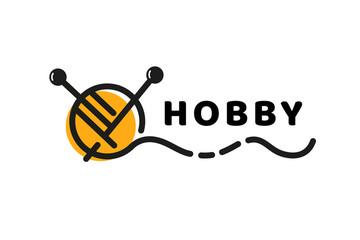 Logo design knitting vector template.