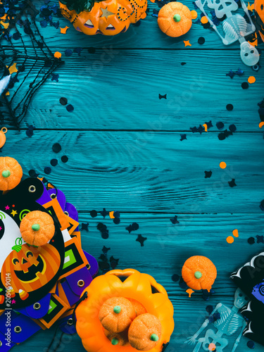 Halloween party symbol decorations frame - pumpkins, sweets, skeletons, spiders, web, dark confetti. Holiday invitation frame