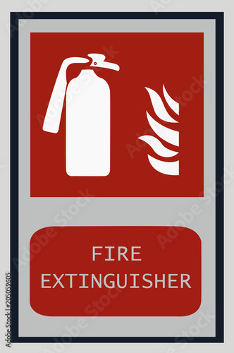 Fire Extinguisher Signs Fire Symbol For Protection Stock Photo