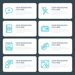 Flat chat and messenger, video, photos infographic timeline template for presentations, advertising, annual reports