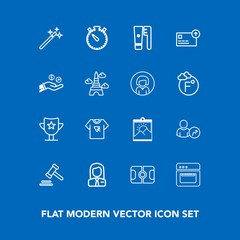 Modern, simple vector icon set on blue background with law, typography, magic, award, football, clock, account, sport, pitch, business, health, tshirt, clean, success, job, wizard, people, brush icons