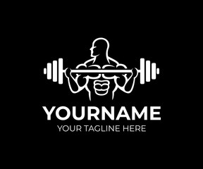 Bodybuilding, gym and fitness centre, man bodybuilder raises barbell row, logo template. Weightlifting, weight training, crossfit and power sports, vector design. Gym club and sportsman, illustration