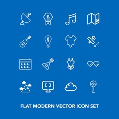 Modern, simple vector icon set on blue background with sound, satellite, bikini, note, communication, mountain, glasses, day, musical, computer, schedule, fashion, internet, technology, string icons
