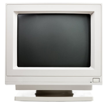 Old CRT computer monitor isolated on white