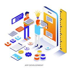 Flat color Modern Isometric Illustration - App development