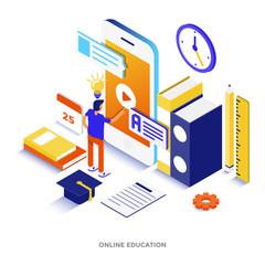 Flat color Modern Isometric Illustration - Online Education