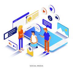 Flat color Modern Isometric Illustration - Social media